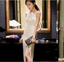 Sexy Tie Neck Design Ladies Dinner Long Dress Size S-L