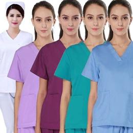 Women s Nursing Scrub Tops Pure Cotton Medical Nursing  V-neck Scrubs Tops