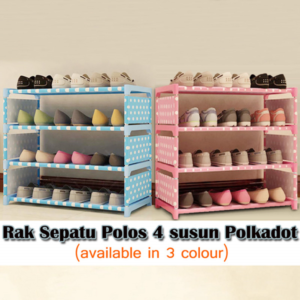 [Clearance Sale] Rak Sepatu 4 tingkat Polkado t/ Polos Deals for only Rp93.000 instead of Rp93.000