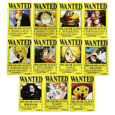 Cosplay One Piece Straw Hat Pirates Set Luffy Ace Zoro Chopper Wanted Poster