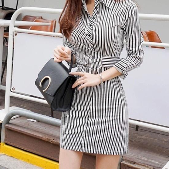 パビエンポムキン行き来するようにパビエンポムキンやせて見える、シャツ、ワンピース スーツワンピース/ 韓国ファッション