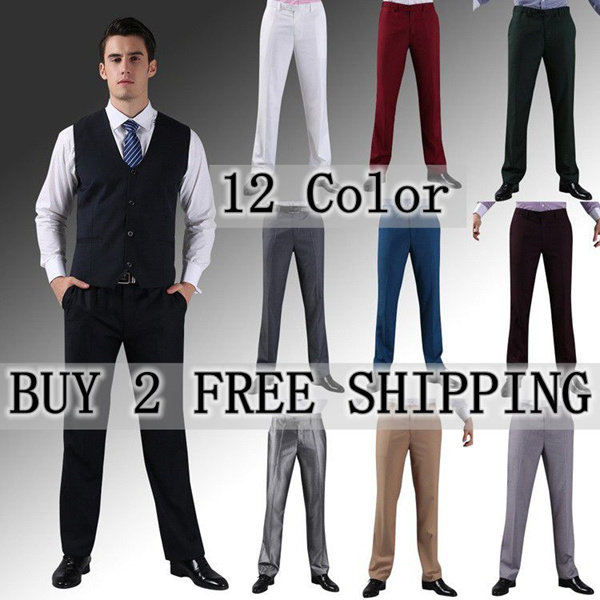 2016 CNY Men casual pants high quality Korean mens fashion long Pants Standard slim fit Pants Dress Trousers Formal Plus Size XS~XXXL Formalwear wedding ceremony suit pant jeans Colorful 12 Color ps4 Deals for only S$89 instead of S$0