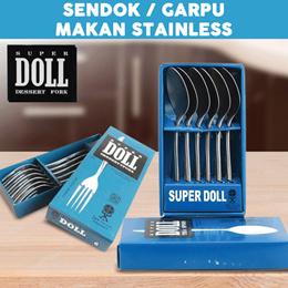 SuperDoll - Sendok / Garpu makan / kue / isi 6 pcs