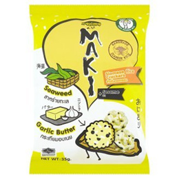 Hajima Maki Seaweed, Garlic Butter + Sesame Siamese Rice Crackers 35g [Halal Certification]