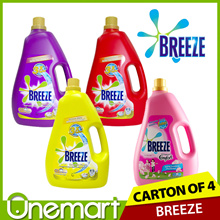 [BREEZE] Carton Sale 4 Bottles x 4.4kg Concentrated Liquid Detergent ★ 3X More Effective ★