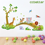 CCbetter Forest Animal Cartoon Kindergarten Removable Wall Stickers for Kids Rooms Home Decor DIY Wallpaper Art Decals House Decoration (Size: 1)