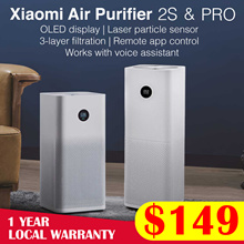 【Official Store】 Xiaomi Air Purifier 2S // Pro   OLED Screen Display   510m³/h CADR   Local Warranty