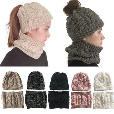 7e8c5bcaefc5bc Women Beanie Ponytail Hat Bun Knitted Cap Stretchy Winter Warm Hats Scarves  Set