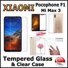 [SG] ★Xiaomi Pocophone F1 / Mi Max 3★ Tempered Glass Screen Protector / Clear Case