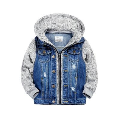 Qoo10 Baby Boys Jacket Autumn Kids Boy Hoodie Patchwork Denim Coat