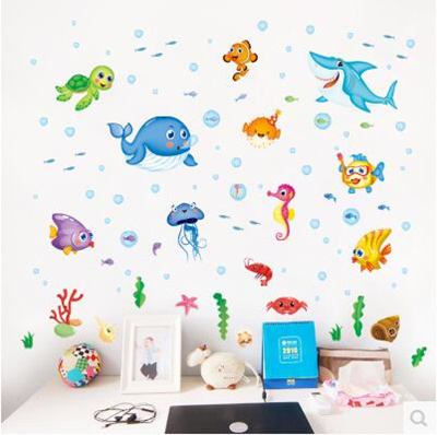 Happy little fish cartoon animal wall stickers children room kindergarten  baby bedroom wall stickers