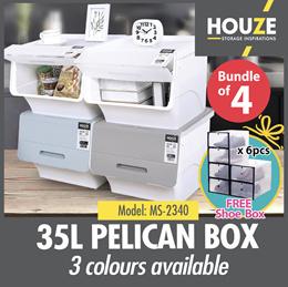 ♦ 34rd Restock ♦ Bundle Of 4 35L Pelican Box ♦ Front Opening ♦ Stackable Design ♦ Durable
