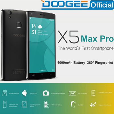 DOOGEE X5 Max pro 4G 5 0inch Phone Fingerprint 2GB RAM 16GB ROM Mobile  Phones Android6 0 Dual SIM MT