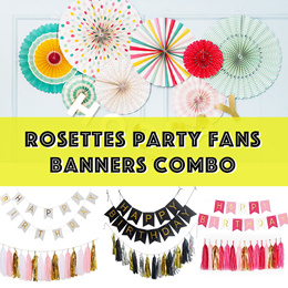 ✱✲✾ Party/ Birthday Banner Decors Combo / Pinwheels Party Fans Rosettes Set ✱✲✾