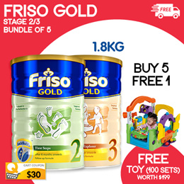 [FRISO]【BUNDLE OF 5+1* + FREE TOY WORTH $199】Friso LockNutri Technology 1.8KG 2/3/4