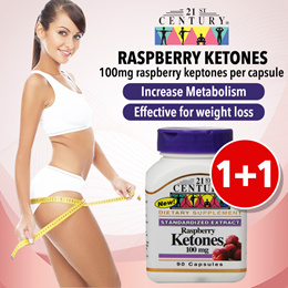 1 FOR 1 [21st Century]RASPBERRY KETONES (90 capsules) for Weight Loss