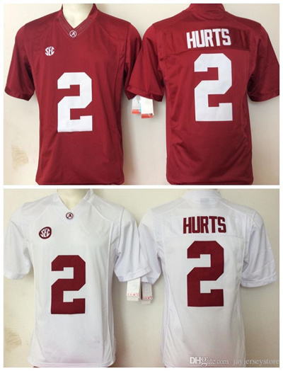 online store e15cc 607a9 Alabama Crimson Tide Jersey 2016 Ncaa College 2 Jalen Hurts Jerseys White  Red