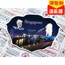 [Ball Studio] Singapore medal merlion souvenirs shaped magnetic refrigerator at night
