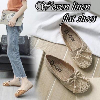 Qoo10 - Woven linen flat shoes 2019 NEW