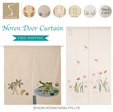 Floral embroidered Linen Cotton Noren Curtain  Pretty Embroidered Flowers Door Curtain Room Divider