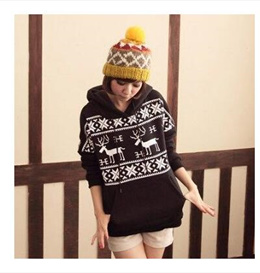 Korea deer embroidery single loose drawstring cap Hooded hedging plus velvet thick fleece sweater female autumn and winter