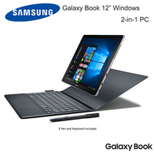 "Samsung Galaxy Book 12"" Windows 2-in-1 PC Wi-Fi Silver 8GB RAM/ 256GB SSD Galaxy Book with Keyboard"