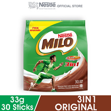 NESTLE MILO 3IN1 ACTIV-GO CHOCOLATE MALT POWDER 30 Sticks 33g Each