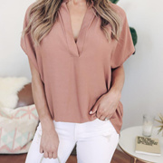 97906624de0 Quick View Window OpenWish. rate new. Ladies Chiffon Blouse Short Sleeve V  Neck Casual Shirt Female Loose Sexy Tops
