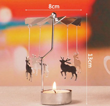 Spinning Tealight Candle Metal Tea light Holder Carousel Home Decor Christmas Gift