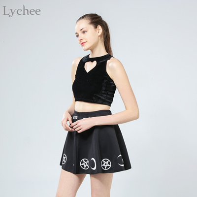 factory Lychee Harajuku Punk Rock Goth Summer Women Skirt Goth Witch  Pentacle Moon Print Kawaii Wais 3d5c4bc3d80d