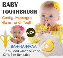 2 in 1 Baby ToothBrush Banana Teether BPA FREE Silicone Wet wipes Diapers Xiao mi