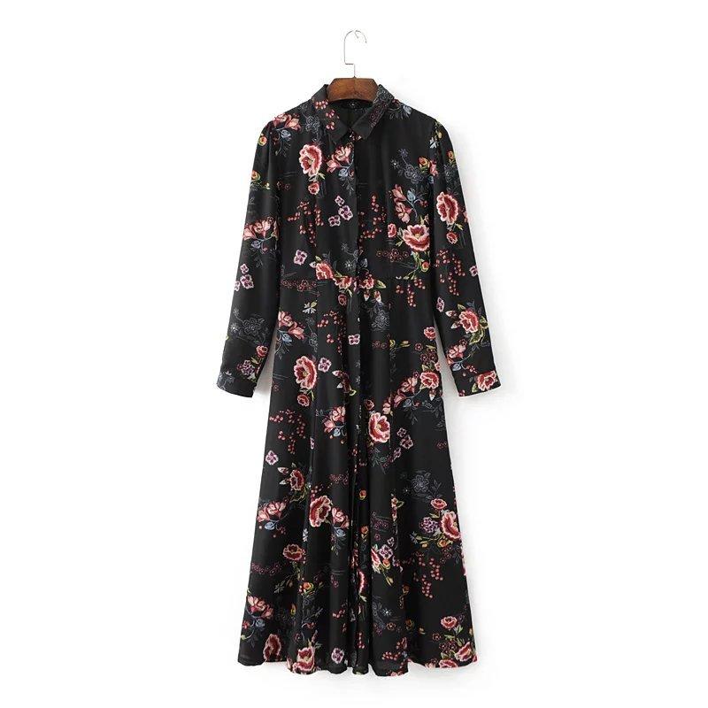 小さい小花プリント、開襟長袖ワンピース、修身ロングスカート