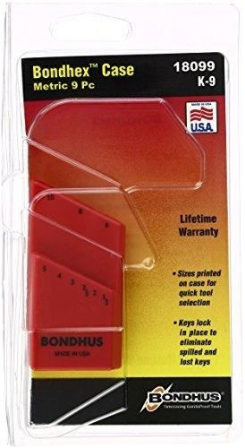 10 Piece Holds 9 Tools Bondhus 18099 Bondhex Color Coded Case