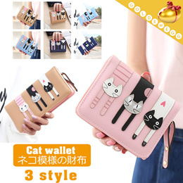 Dolland Leather Cute Cat Ear Design Card Holder Mini Ladies Wallet Adorable Coin Purse,Pink