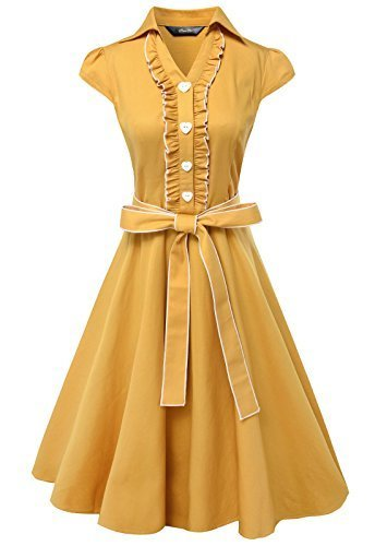 3eb300b6564eb (Anni Coco) Anni Coco® Women s 1950s Cap Sleeve Swing Vintage Party Dresses