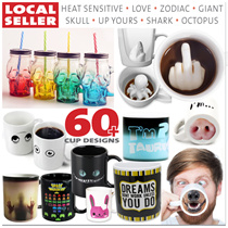 CUP ★ Heat Sensitive Colour Change Mug Zodiac Giant Skull Finger Shark Octopus Hot Coffee Tea Gift