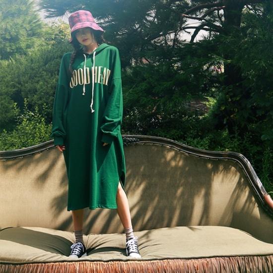 ジェイ・スタイルビックサイズベントゥロフードロングワンピース 大きいサイズ/ワンピース/韓国ファッション