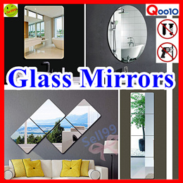 【 Glass Mirrors 】Free Drilling ★ Self-adhesive ★Full-Body Size ★Real Mirror ★ Space saving