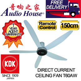 KDK 150CM DIRECT MOTOR CEILING FAN T60AW WITH REMOTE CONTROL