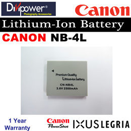 Canon NB-4L Lithium-ion Battery for Powershot IXUS Camera by Divipower
