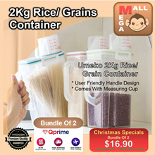 [MEGA MALL] ♦ Rice Container With Measuring Cup♦ Rice Stocker ♦ Premium High Quality And Durable