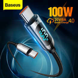 Baseus 5A Type C Cable for Red Mi Note9 Huawei P40 P40 Pro USB LED Display Type C Cable Fast Charger