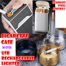Metal Cigarette case with USB Rechargeable Lighter Windproof stainless steel Ashtray