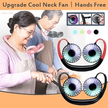 Ready Stock 24h Shipping Fan Wireless Portable Rechargeable Hand-Free Wearable Neckband Fan Mini