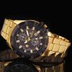 Luxury Mens Black Dial Gold Stainless Steel Calendar Date Quartz Analog Sport Wrist Watch
