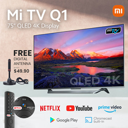 Xiaomi 75-inch Q1 QLED Smart LED TV Digital Ready Android TV with Google Playstore Youtube Netflix
