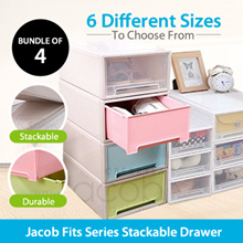 Bundle of 4 Jacob Fits Series Stack-Able Drawer Home Organize Plastic Drawer. 6 Sizes to choose !