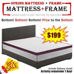 (MAS) Eurotop Mattress 10 Inches Single / Super Single / Queen / Kings Size Sale! Mattress+Bedframe