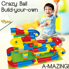 Crazy Ball Duplo-like Building Blocks with Slide (Educational Toy)(47pcs) | Come with 72pcs and 125