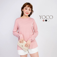 YOCO - Pleated Hem Pullover Top-171660-Winter
